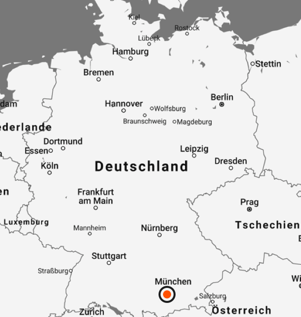A map shows the Imago Design location in Gilching, southwest of Munich.