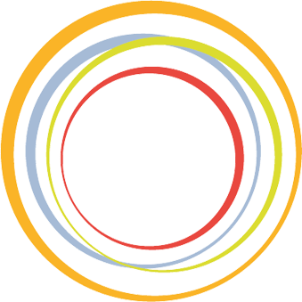 The four values ​​of Imago Design in different colors merging in a circle. On the right, the associated terms: cooperation in yellow, humanity in red, excellence in blue and sustainability in green.