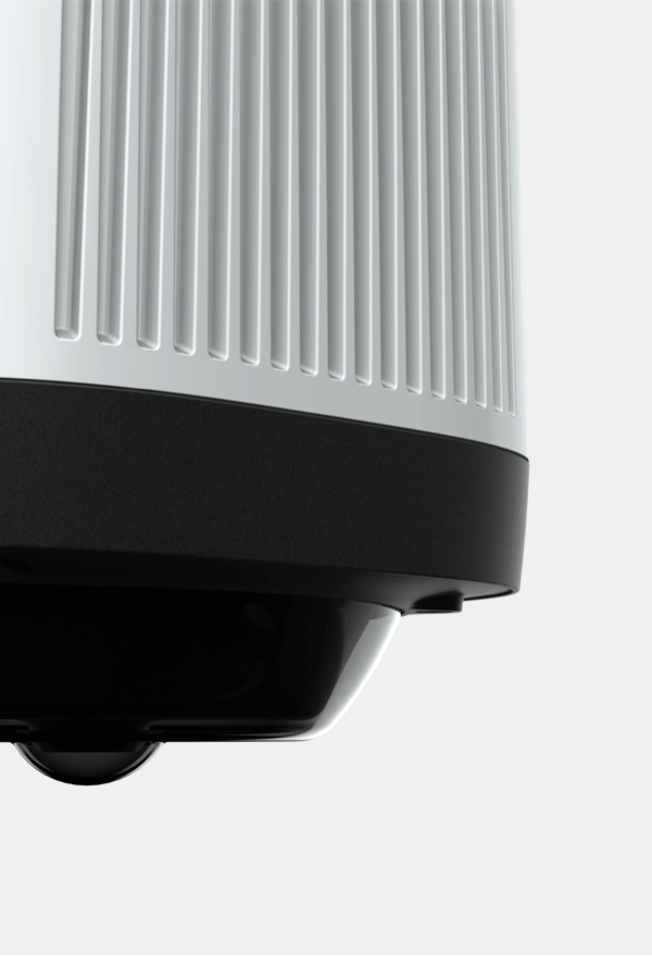 Close-up of the black and white, bulgy 360 ° Panomera W8 video camera from Dallmeier with grooves in the surface.