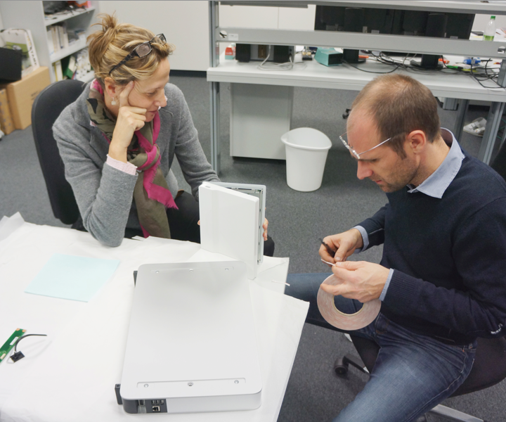 Our colleague Veronika and our colleague Tom testing a prototype