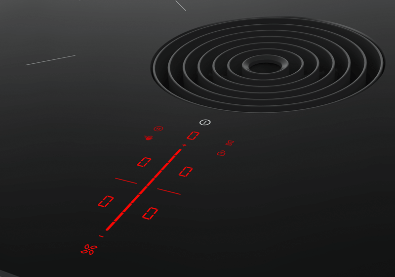 Detailed view of the red, segmented user interface of the BORA Pure with a black inlet nozzle.