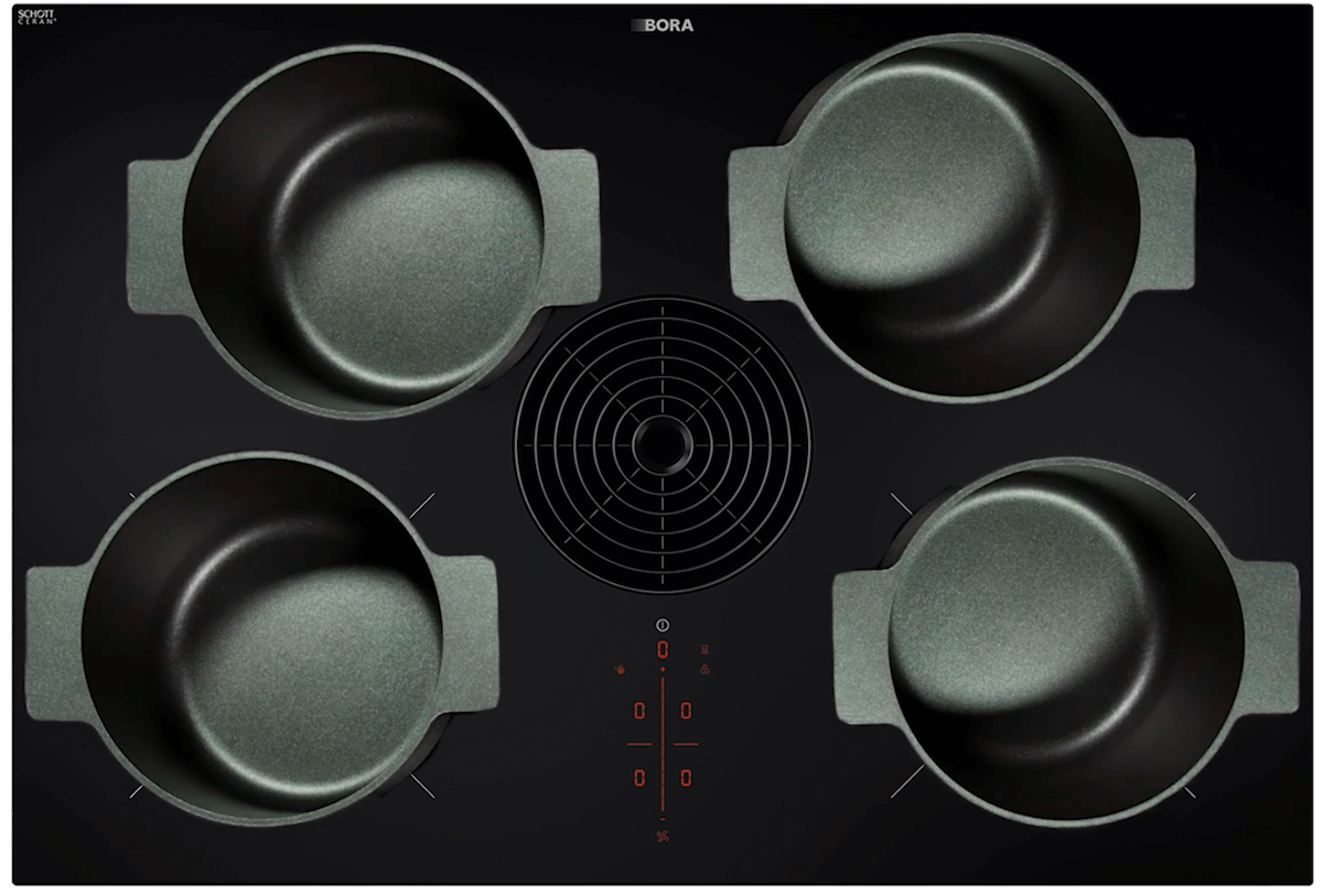 The BORA Pure hotplate with various pots, photographed from above.