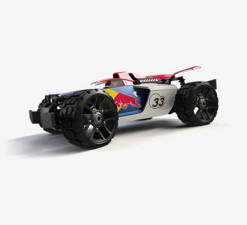 A side view of the Carrera Redbull toy car