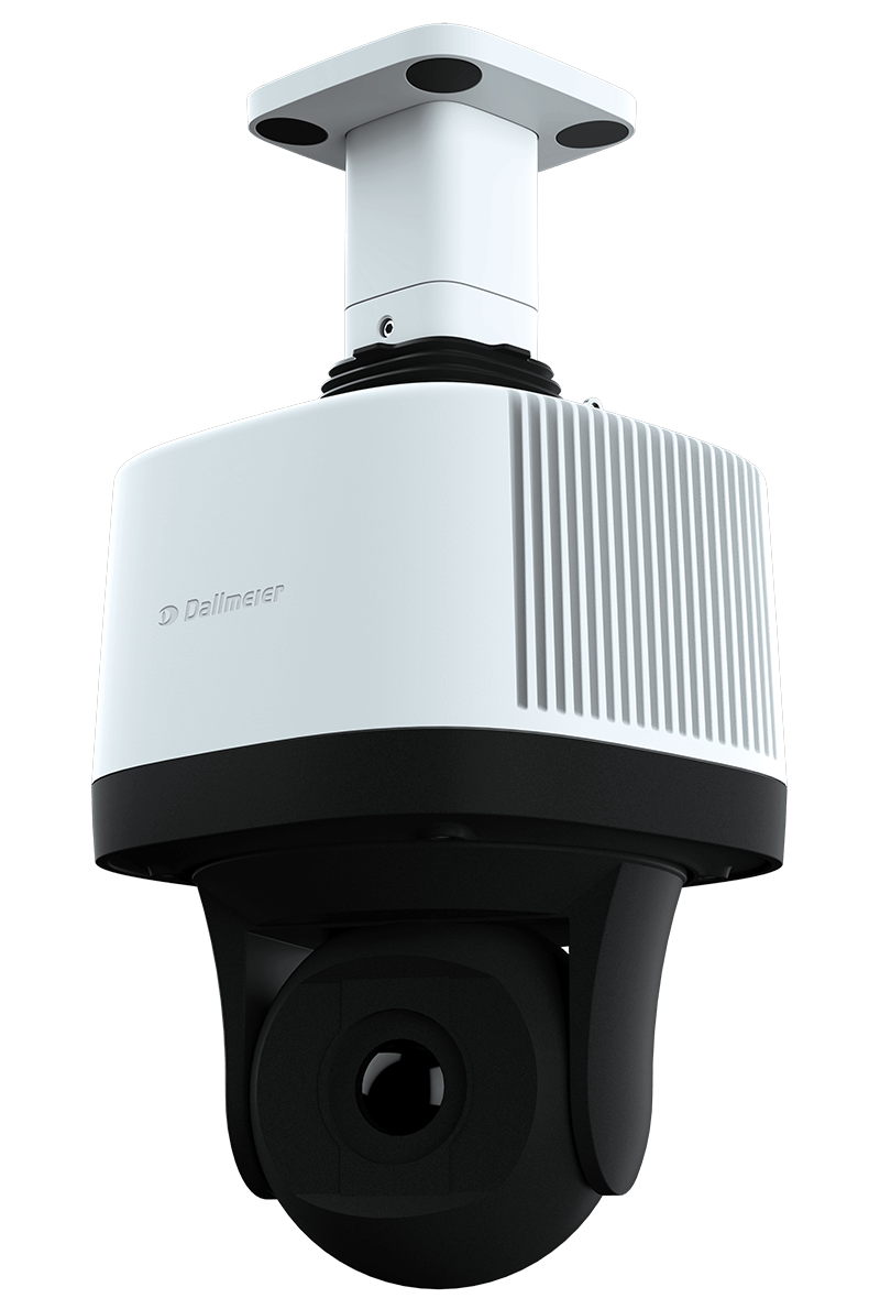 The black and white 360 ​​° Panomera PTZ video camera with a grooved surface.