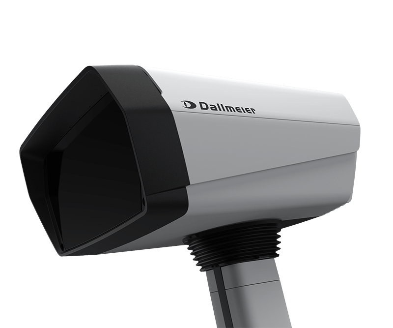 A white, angular Panomera S8 video camera from Dallmeier, in side view.