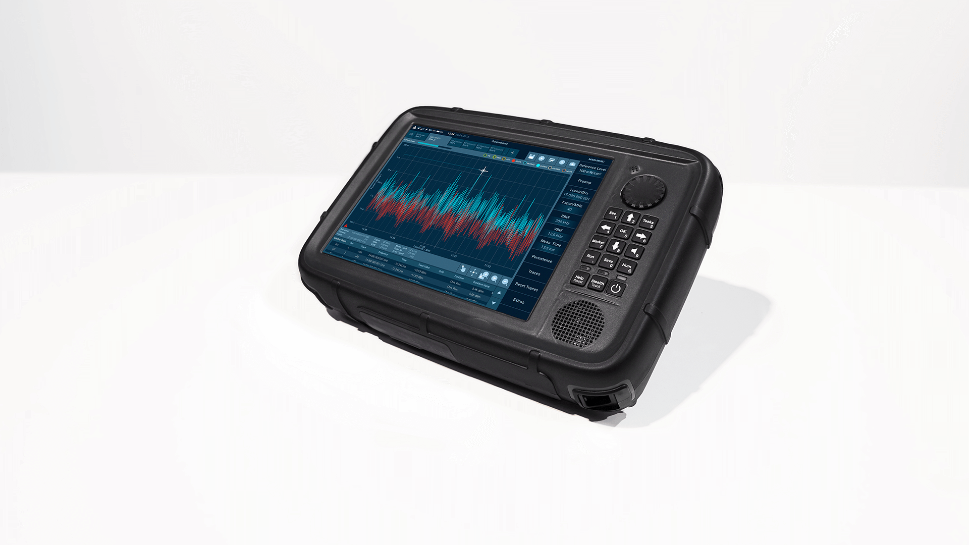 The black radiation measuring device SignalShark from Narda with a blue user interface, photographed diagonally from the top right.