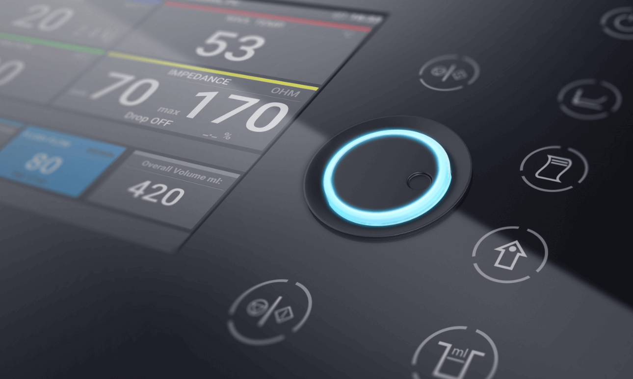 Detailed view of the user interface of the HAT500 product family by Osypka