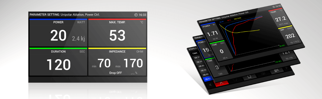 Overview of the user interface of the HAT500 product family by Osypka in dark design.