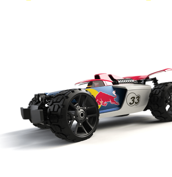 A detailed drawing of the remote-controlled Carrera racing car in Red Bull branding from above.
