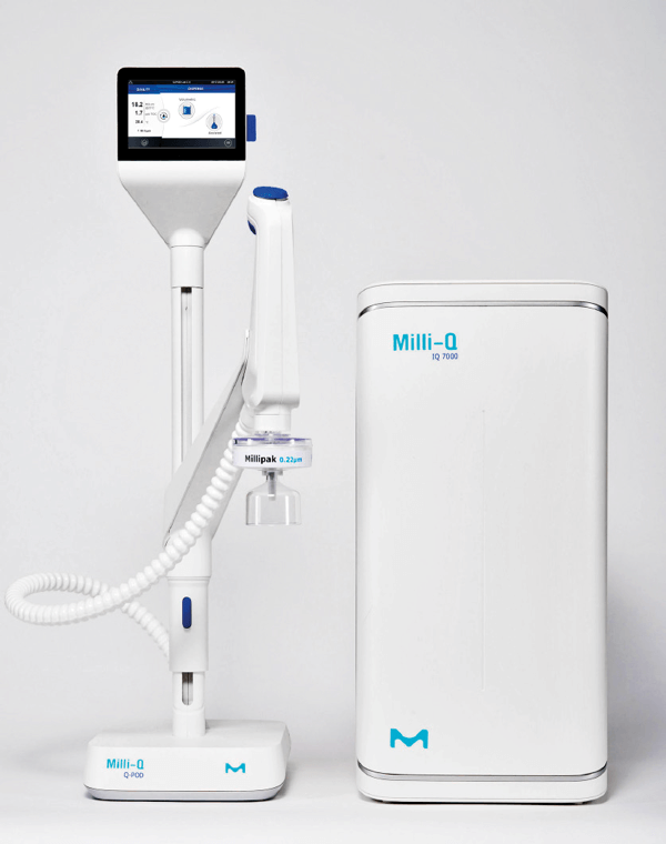 White, two-part fresh water system Milli-Q photographed frontally by Merck Millipore.