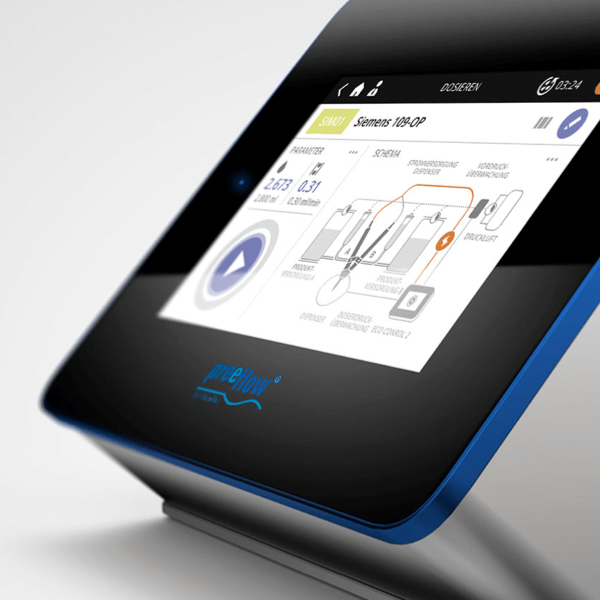Close-up of a blue and white, digital user interface for the eco 200 adhesive dispenser from ViscoTec.