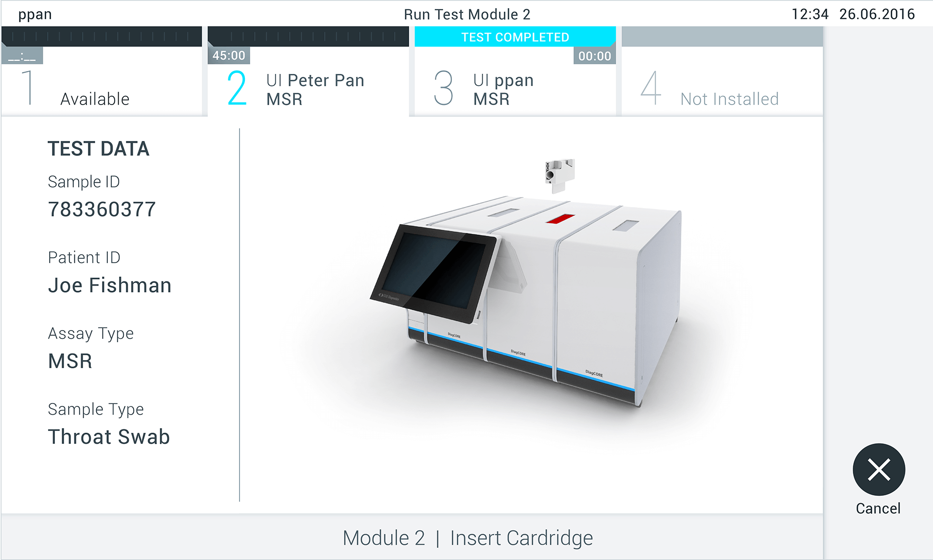 Representation of the user interface of Qiagen's QIAstat Analyzer, which invites the user to put the sample into the device.