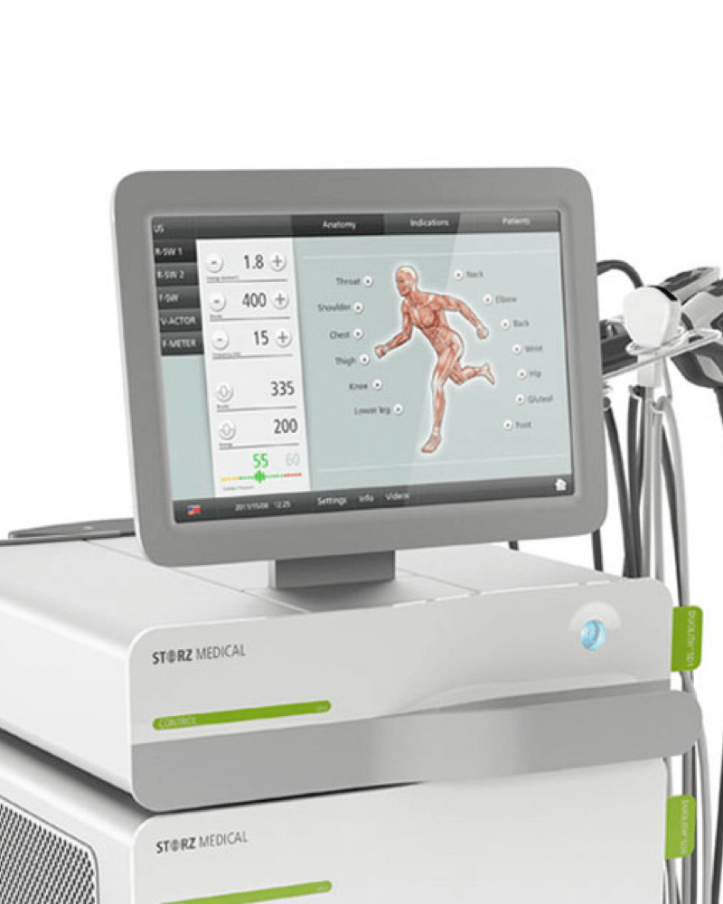 A close-up of the user interface of the Storz Medical Duolith SD1 ultra