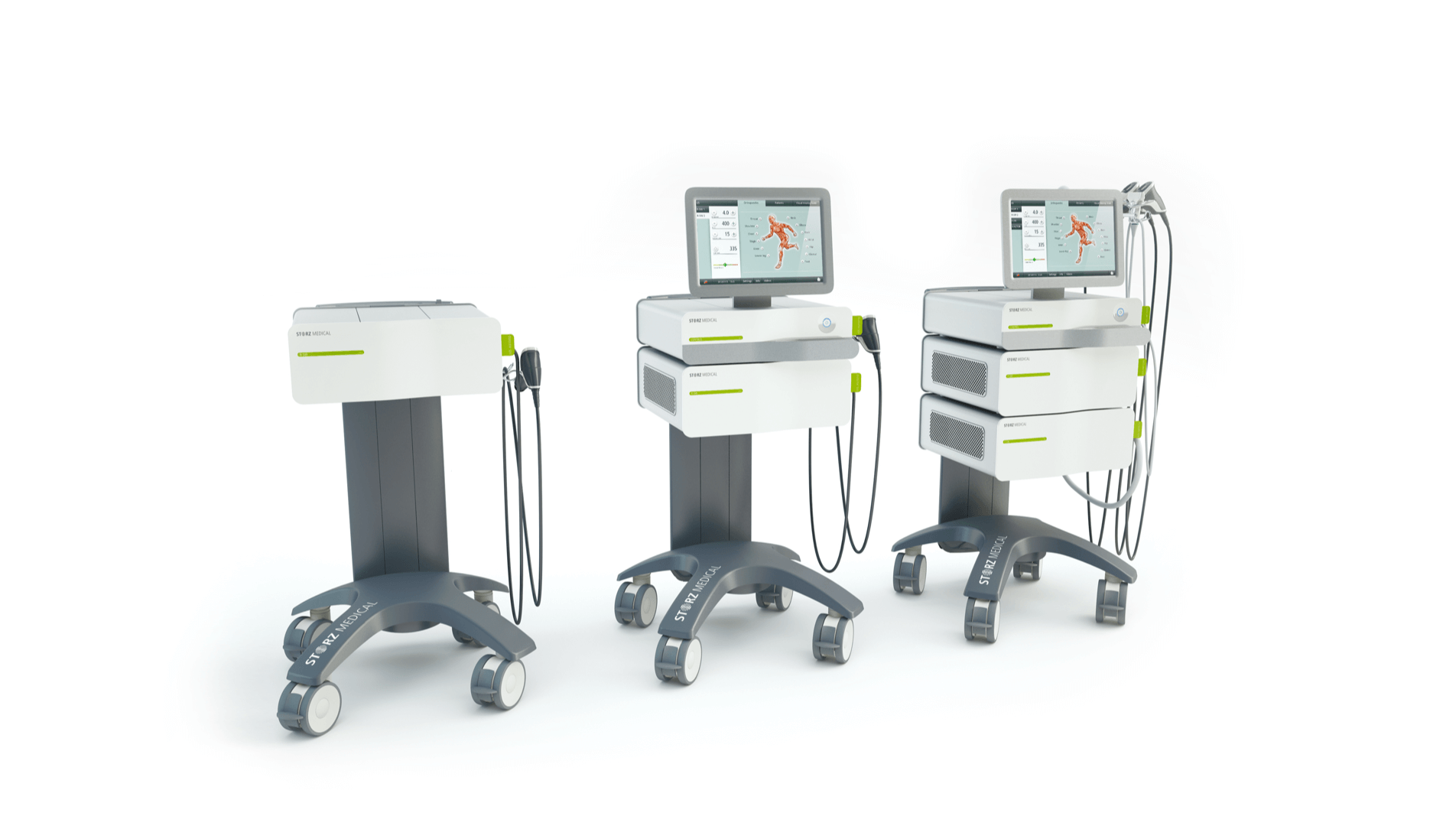The Duolith SD1 ultra family by Storz Medical placed in a row