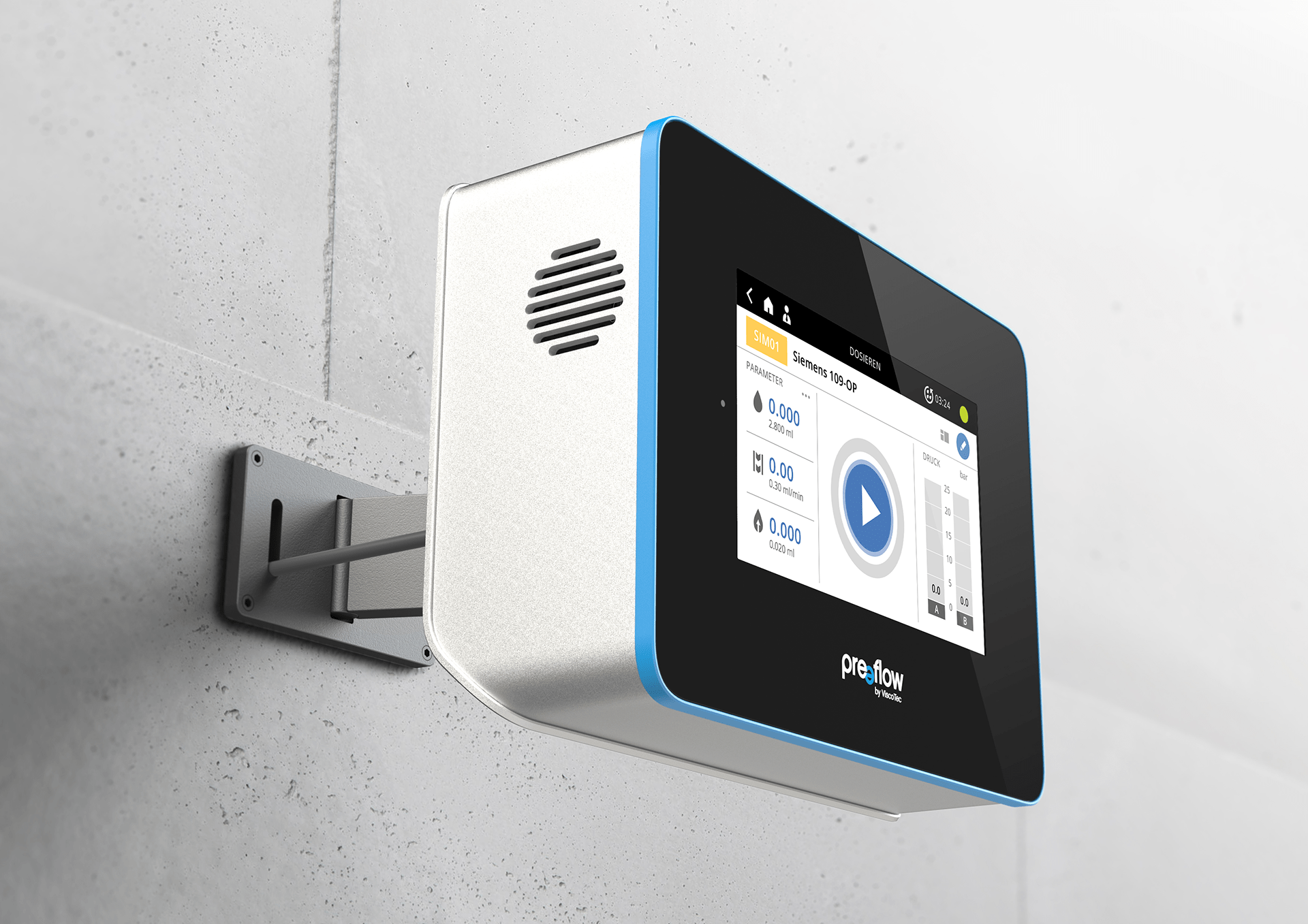 The ViscoTec eco 200 is mounted on a wall and shows the main screen of the user interface